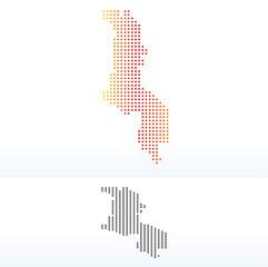 Map of Malawi with Dot Pattern