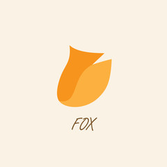 Stylized silhouette of fox on a light background