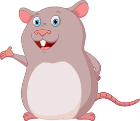 Happy Mouse cartoon presenting