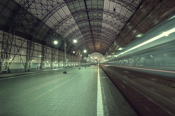 High speed train departs from the station.