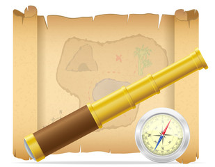 pirate treasure map and telescope with compass vector illustrati