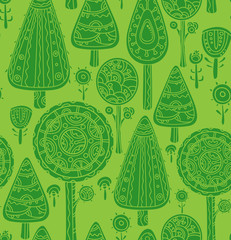 Seamless vector pattern with  trees