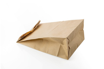 Recycle Brown Paper Bag with Copy Space on White