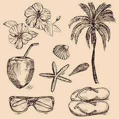 Hand drawn summer vacation items