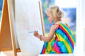 Preschooler girl drawing on paper