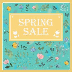 Spring Sale on the floral background. Vector card