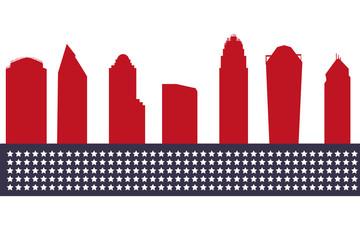 Charlotte USA city skyline silhouette vector illustration