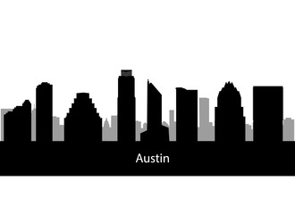 Austin,Texas city silhouette