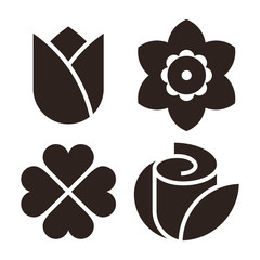 Flower icon set - tulip, narcissus, clover and rose