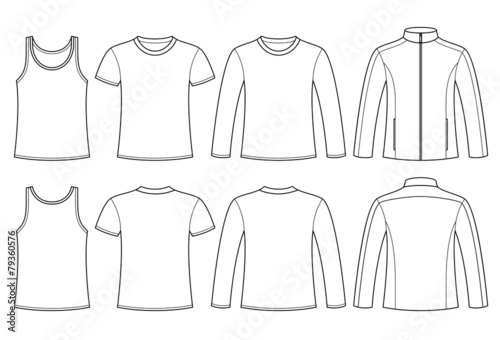 Singlet T Shirt Long Sleeved T Shirt And Jacket Template Stock