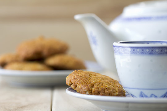 Anzac Biscuits at Table