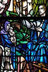 Jesus Christ preaching (stained glass)