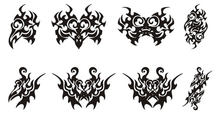 Set of tribal bird head symbols