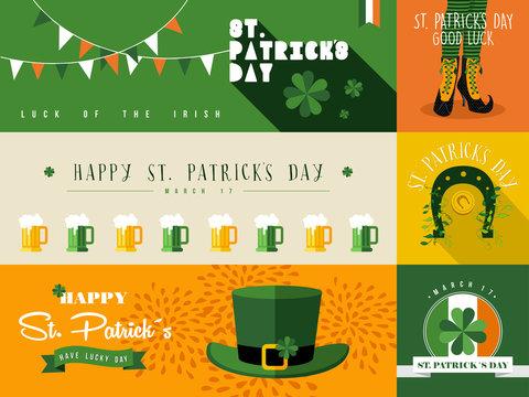 Happy St Patricks day banner illustration