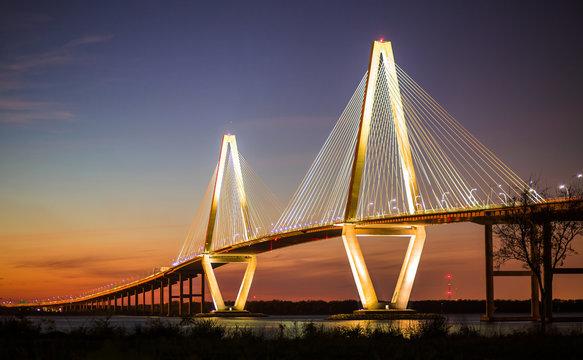 Arthur Ravenel Jr Bridge Illuminated in Evening