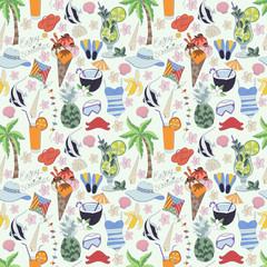 Vector seamless pattern.Enjoy Summer