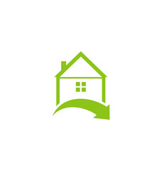 Icon eco home with leaf isolated on white background