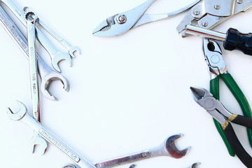 Mechanic tools set isolated