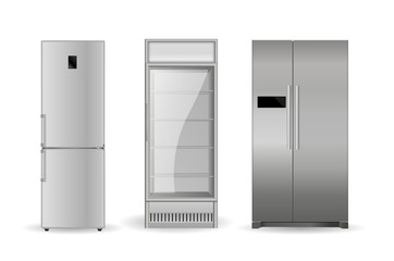 Refrigerators: silver, with two doors and glass door