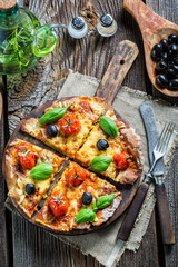Prepared pizza before baking