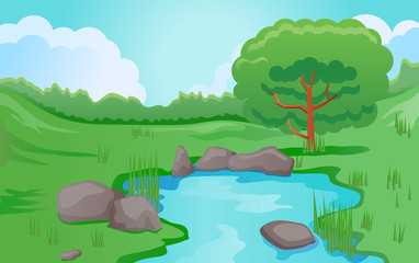 Pond or river scene image