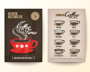 Brochure Flyer Poster design template Layout with type of coffee