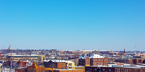 Suburb of US capital city in winter.