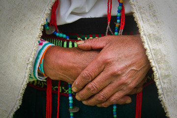 Closeup of an indigenous woman's hands, Chimborazo, Ecuador