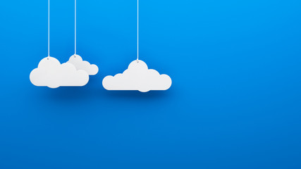 Toy 3d clouds hanging isolated background wallpaper
