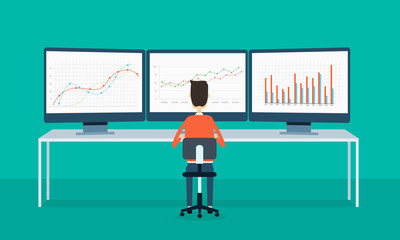 business people on monitor report graph and SEO on web