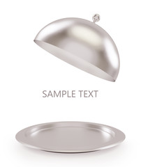 Isolated silver open tray on a white background
