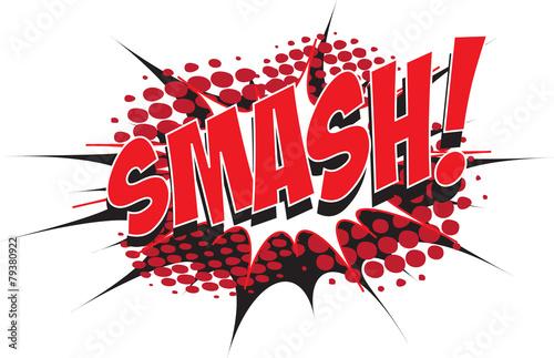 smash wording in comic speech bubble in pop art style stock image