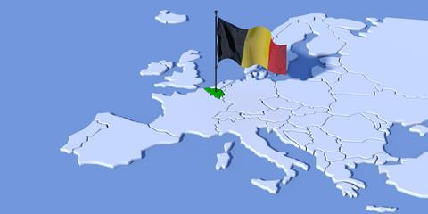 Mappa Europa 3D con bandiera Belgio Wall mural