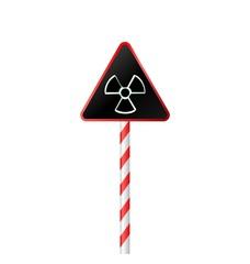 Illustration the warning symbol of radioactive hazard on road st