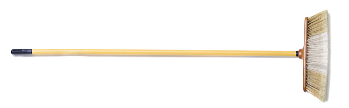 Isolated household broom on a white background.