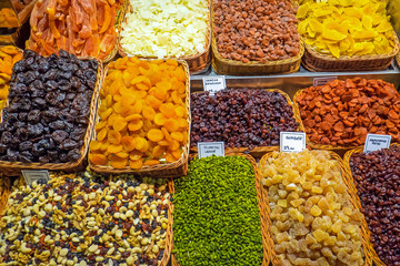 Dried fruits at the Boqueria market in Barcelona