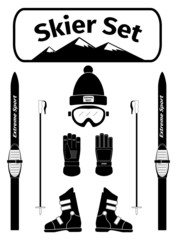 Skier icons set with equipment