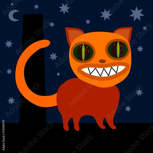 Monster cat on roof at night