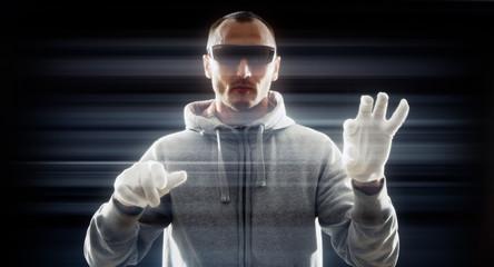 Hacker typing on futuristic computer keyboard