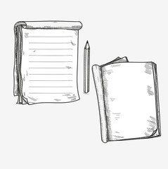 Hand drawn doodle sketch open notebook, clear page, template for