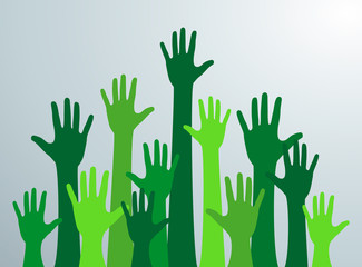 Various hands lifted up in the air. Ecological green  hands