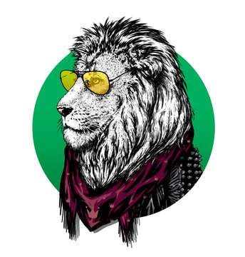 Lion in glasses and color scarf with drawing.