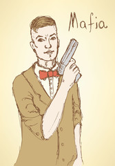 Sketch fancy mafia in vintage style