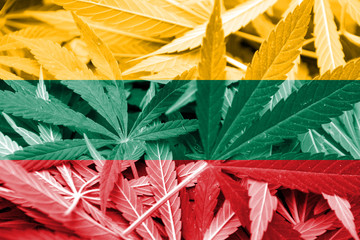 Lithuania Flag on cannabis background. Drug policy.