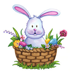 Easter bunny in a basket with flowers and Easter eggs