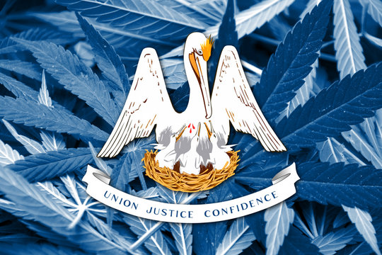 Louisiana State Flag on cannabis background. Dr