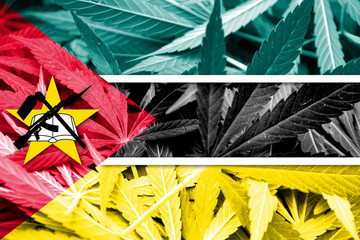 Mozambique Flag on cannabis background. Drug policy.