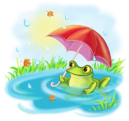 Cartoon a happy frog with an umbrella