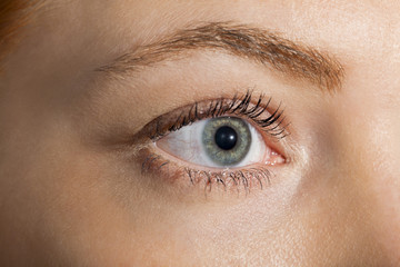 Close up Woman Eye Looking Up