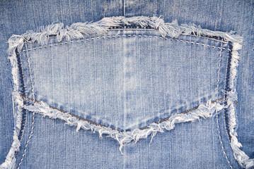 close-up of jacket, denim background